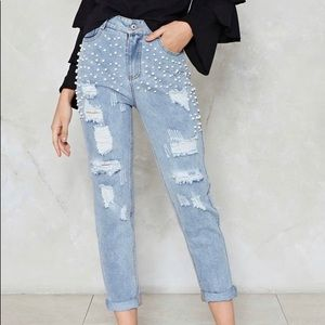 Nasty Gal Mama's Pearl Jeans high waisted NWT L